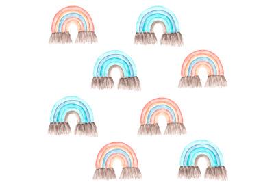 Rainbow baby watercolor seamless pattern. Boho. Children. Nursery.