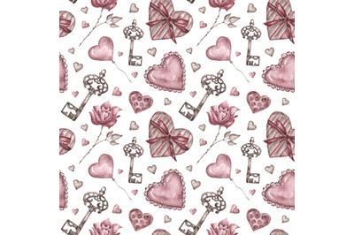 Love watercolor seamless pattern. Valentine's Day. Wedding pattern.