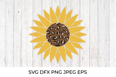 Leopard sunflower SVG. Fall clipart. Autumn decorations