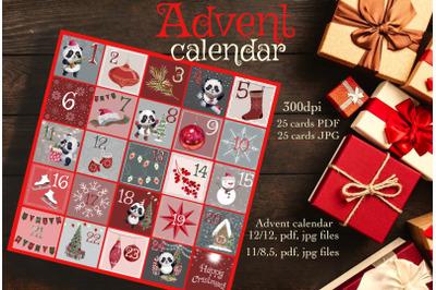 Advent calendar printable tag, christmas cards printable,countdown cal