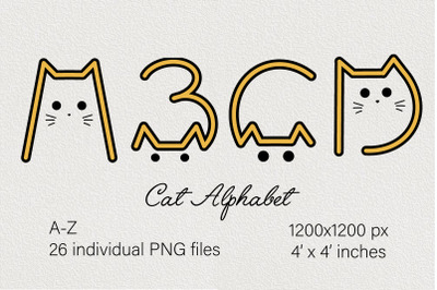 Cats alphabet. Cute ABC. Abstract lettering. Cartoon letters