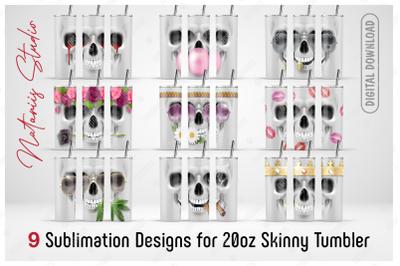 9 Skulls Seamless sublimation designs - 20oz SKINNY TUMBLER