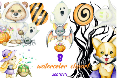 Watercolor Halloween party forest animals clipart set. bear, bunny, do