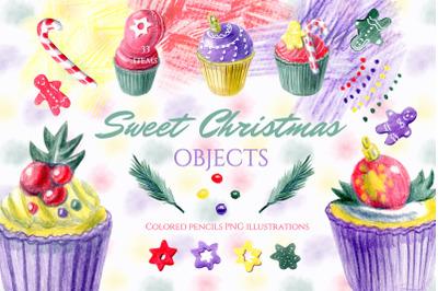 Christmas dessert clipart. Sweet objects. Gingerbread man.