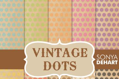 Digital Papers Vintage Polka Dots