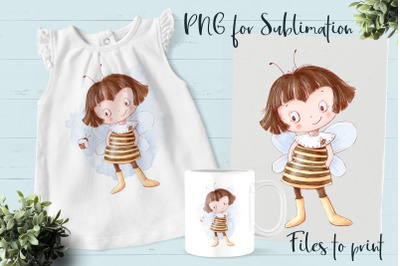 Bees and honey sublimation. Design for printing.