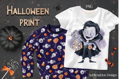 Halloween Vampire boy sublimation. Design for printing.
