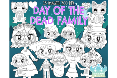 Day of the Dead Family Digital Stamps - Lime and Kiwi Designs