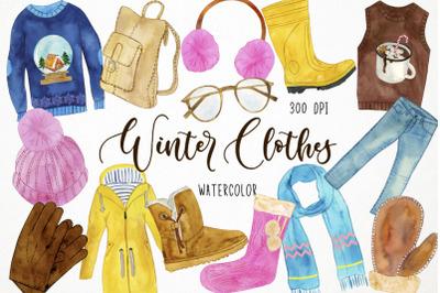 Watercolor Winter Clothes Clipart, Winter Fashion Clipart, Cozy Clothe