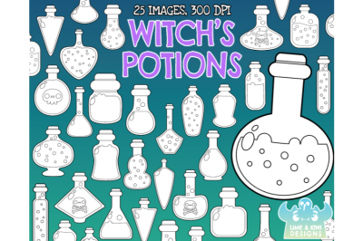 Witch's Potions Digital Stamps - Lime and Kiwi Designs