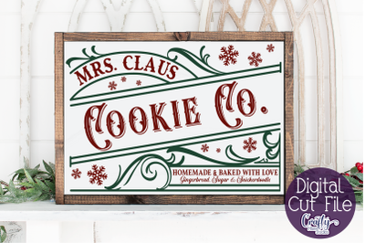 Christmas Svg, Farmhouse Svg, Mrs. Claus Cookie Company File