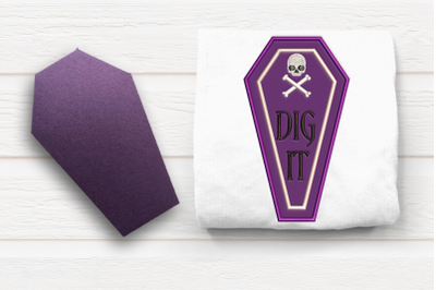 Dig It Halloween Coffin | Applique Embroidery