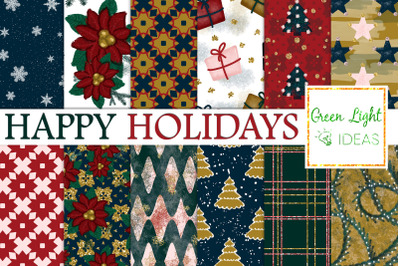Christmas Digital Papers, Holidays Backgrounds, Xmas Scrapbook Papers