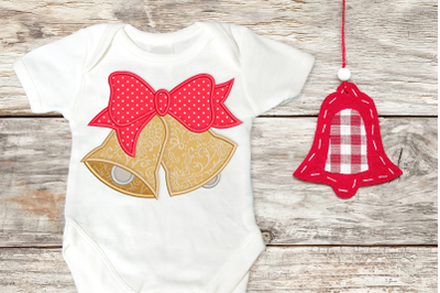 Christmas Bells with Bow | Applique Embroidery