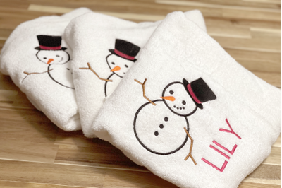 Snowman with Top Hat | Applique Embroidery