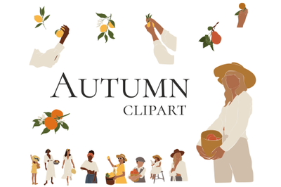 Autumn clipart, abstract girls, harvesting, instant download