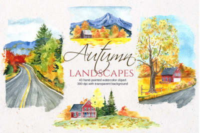 Watercolor autumn landscapes