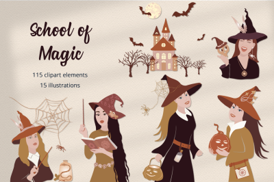 School of Magic Illustration Set