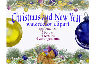 Christmas wreath clipart, New Year watercolor pictures ,Christmas tree