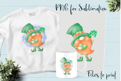 Gnomes for St. Patrick's Day sublimation. Design for printing.
