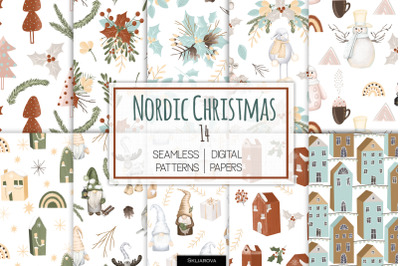 Nordic Christmas seamless patterns