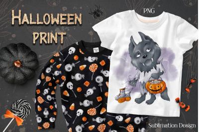 Halloween Werewolf sublimation. Design for printing.