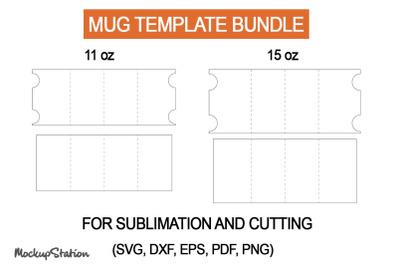 11oz Mug Template | 15oz Mug Template SVG, PNG, DXF