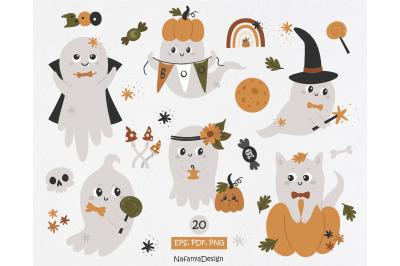 Cute Halloween ghost clipart