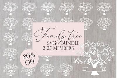 Family Tree SVG Bundle 2-25 Members