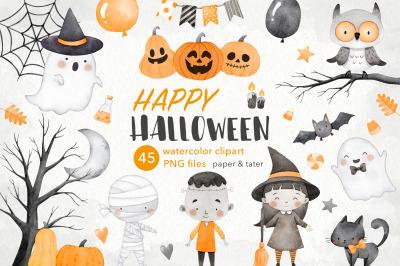 Happy Halloween Watercolor Clipart, Cute Halloween Monsters PNG