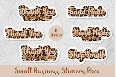 6 Small Business Stickers Pack. Leopard print. Png and jpg files