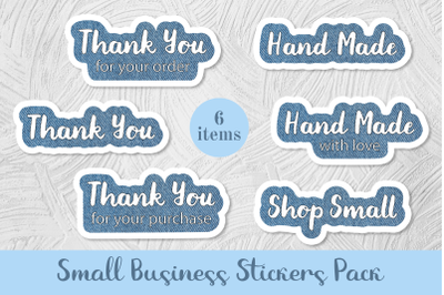 6 Small Business Stickers Pack.  Jeans print. Png and jpg files