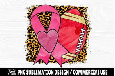 Pink Ribbon with Football PNG, Cancer Sublimation Design