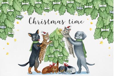 Watercolor set Christmas illustrations. Christmas time. Family Xmas