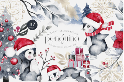 Penguino: Festive Watercolor Collection Christmas PNG