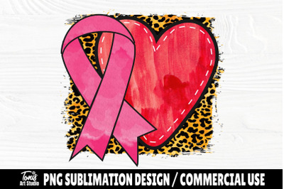 Pink Ribbon with Heart PNG, Cancer Sublimation Design