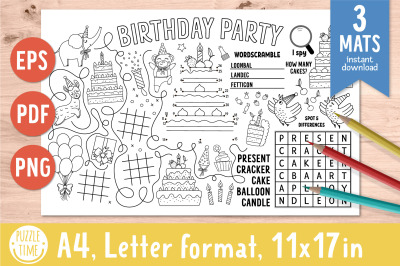 Birthday activity mats