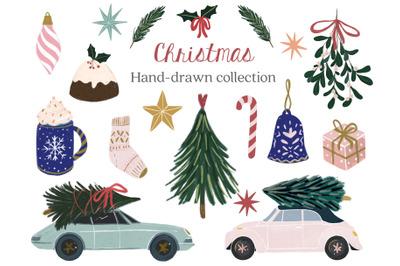 Christmas handdrawn graphics collection