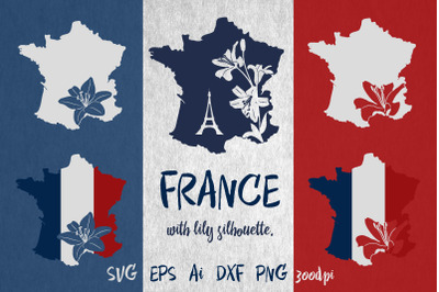 France map with lily silhouette. SVG. Sublimation