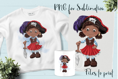 Pirate girl sublimation. Design for printing.