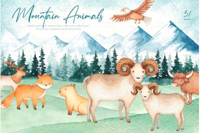 Mountain Animals Watercolor Clip Art