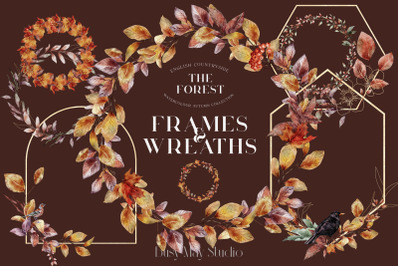 Autumn Watercolor Gold Leaves Frames Wreaths Birds Forest PNG