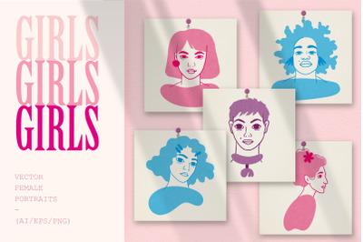 GIRLS   Vector female portraits