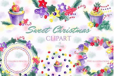 Christmas dessert wreaths. Sweet clipart. Cupcakes.