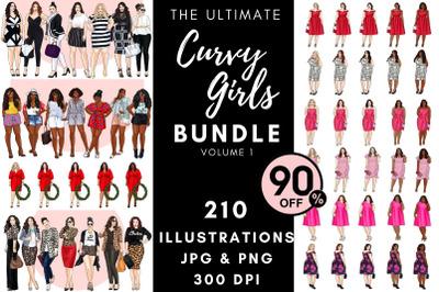 The Ultimate Curvy Girls bundle - Volume 1 Clipart set