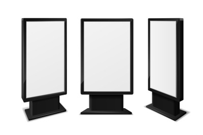 Realistic light box. Blank billboards front and different angles view,