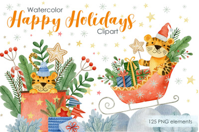 Watercolor happy new year tigers clipart.