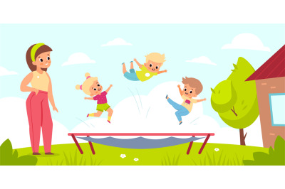 Outdoor trampoline jumping. Children play in yard with gym equipment.