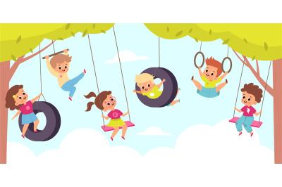Rope swing. Happy cute children hang on swings, outdoor kids games, li