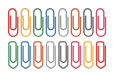 Colored paper clips. Fasteners document sheets realistic clip, office